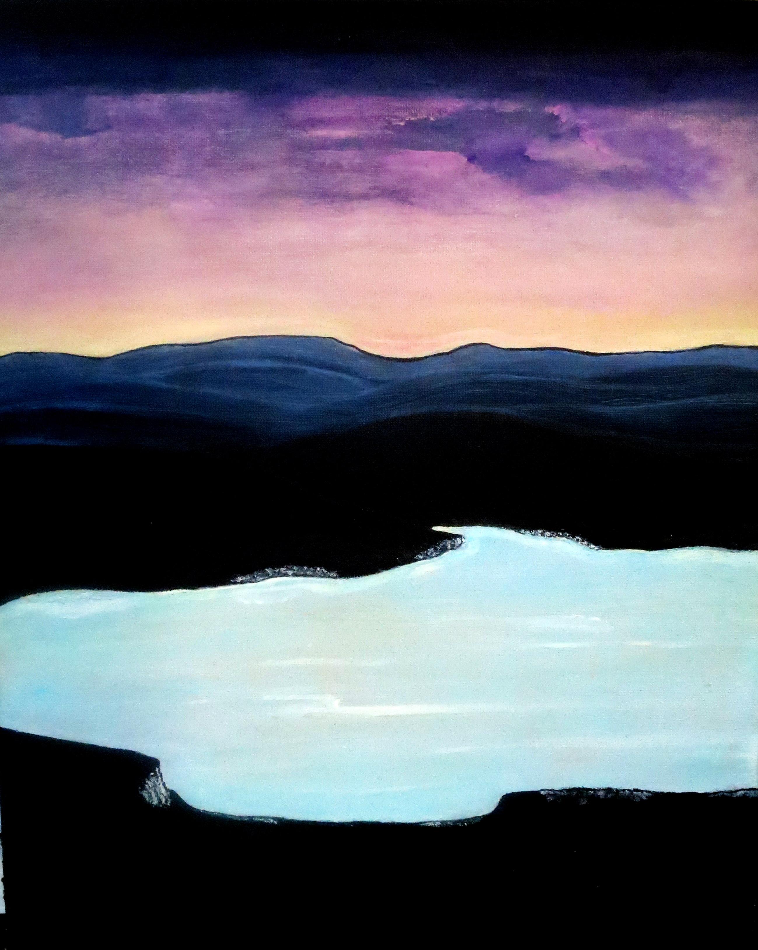 Twilight on the lake, acrylic. 70 h cm - 60 L cm, 2cm.