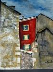 À Carouge, une fenêtre illuminée 30/40 cm aquarelle et gouache