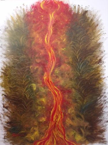 L\'arbre de l\'amour dans la jungle humaine  1m/80cm fond peint avec les doigts