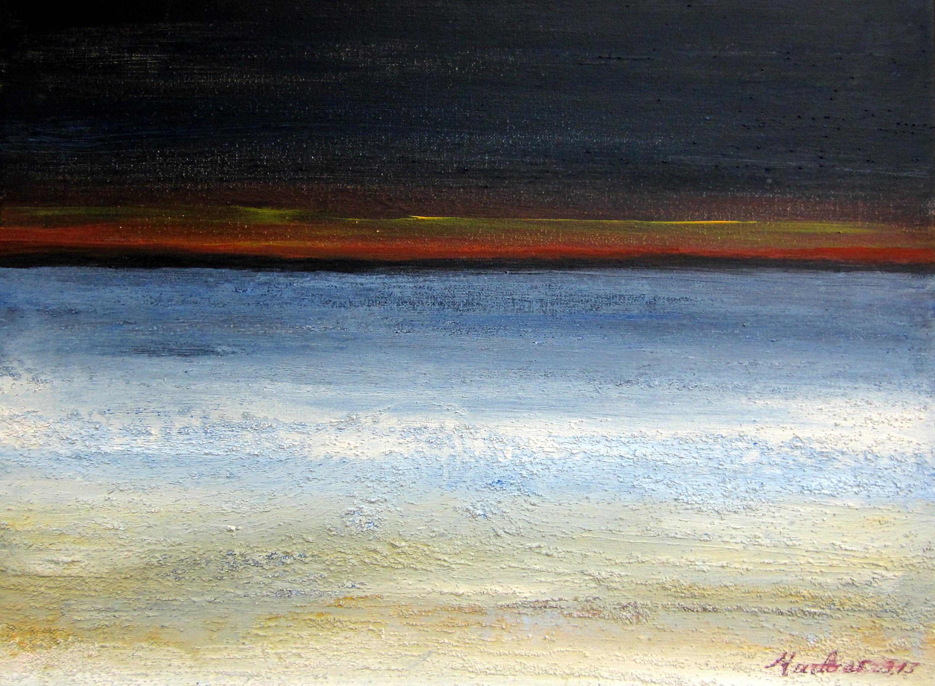 Horizon 1. 201. Acrylique 40/30cm sur toile, tempête à l\'horizon, granulation VENDU