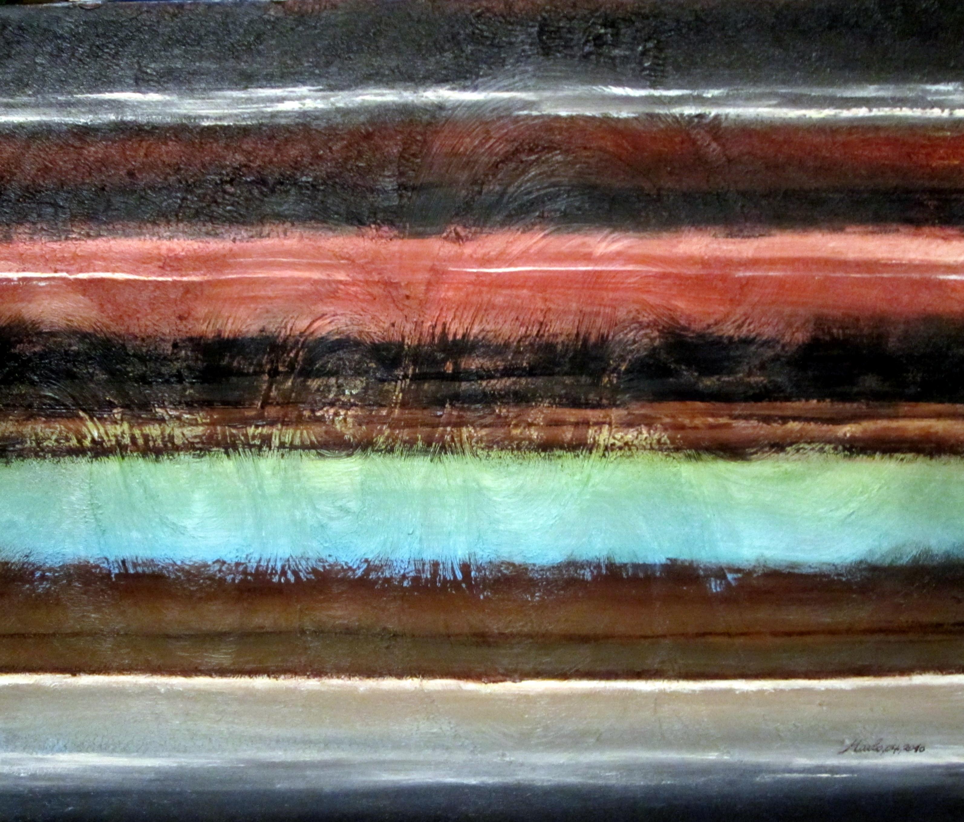 Horizons La riviere, acrylique sur toile 60/50cm fond granulé avec des vagues comme celles d\'une rivière VENDU