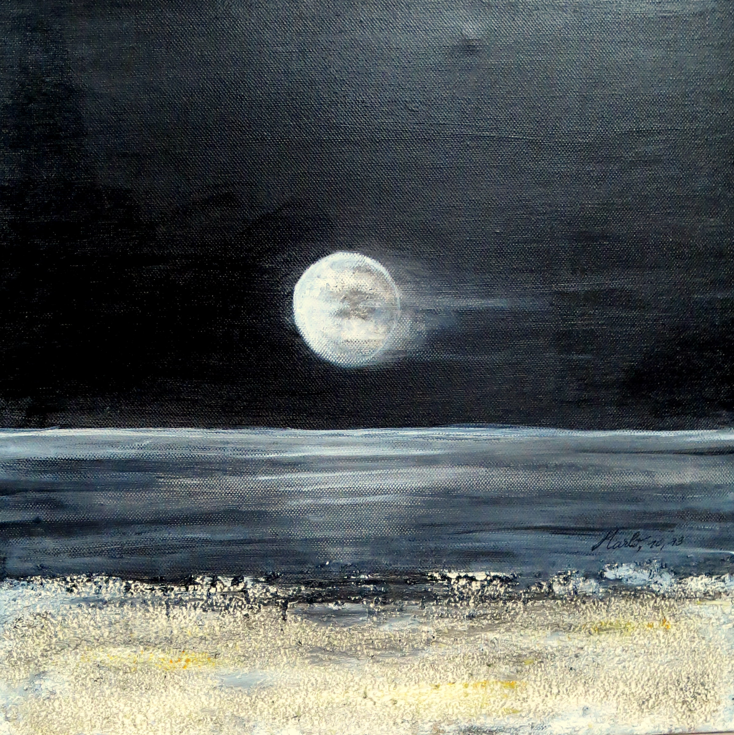Dark moon, acrylique 40/40cm, 22.09.13, 40/40cm