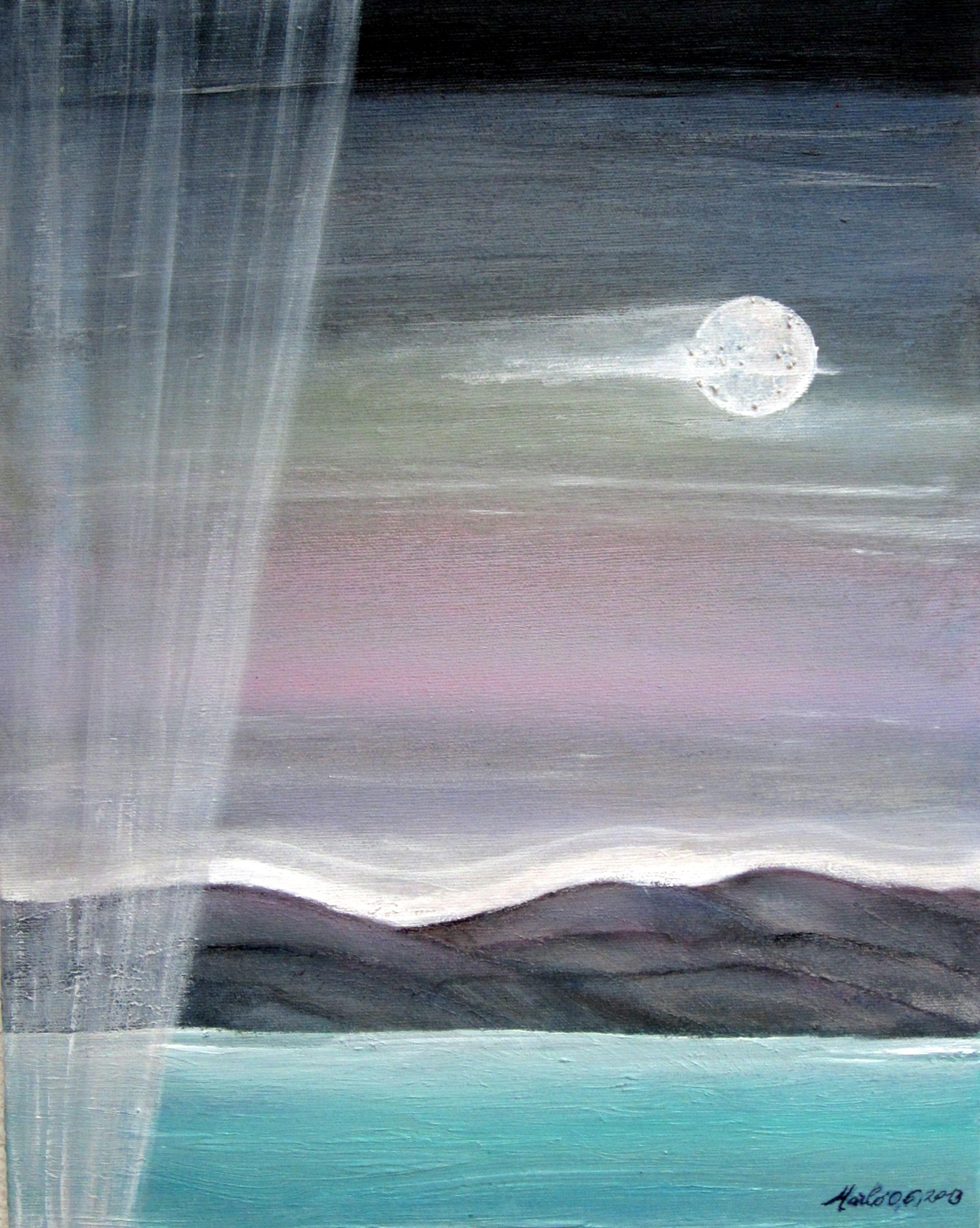 Horizons Paysage lunaire, Acrylique sur toile 45/35cm