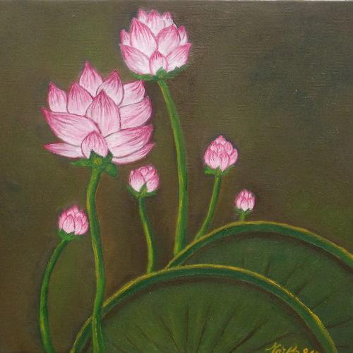 En allant à la mare aux lotus Vendu Frs 600,--Vendu