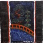 Triptyque japnais; La traversée du pont rouge 30/30 VENDU