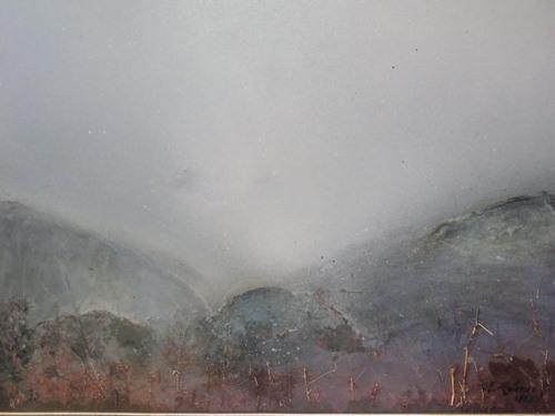 Fin hiver, Winter\'s end  50/45cm tableau exécuté aux spray divers en 1990
