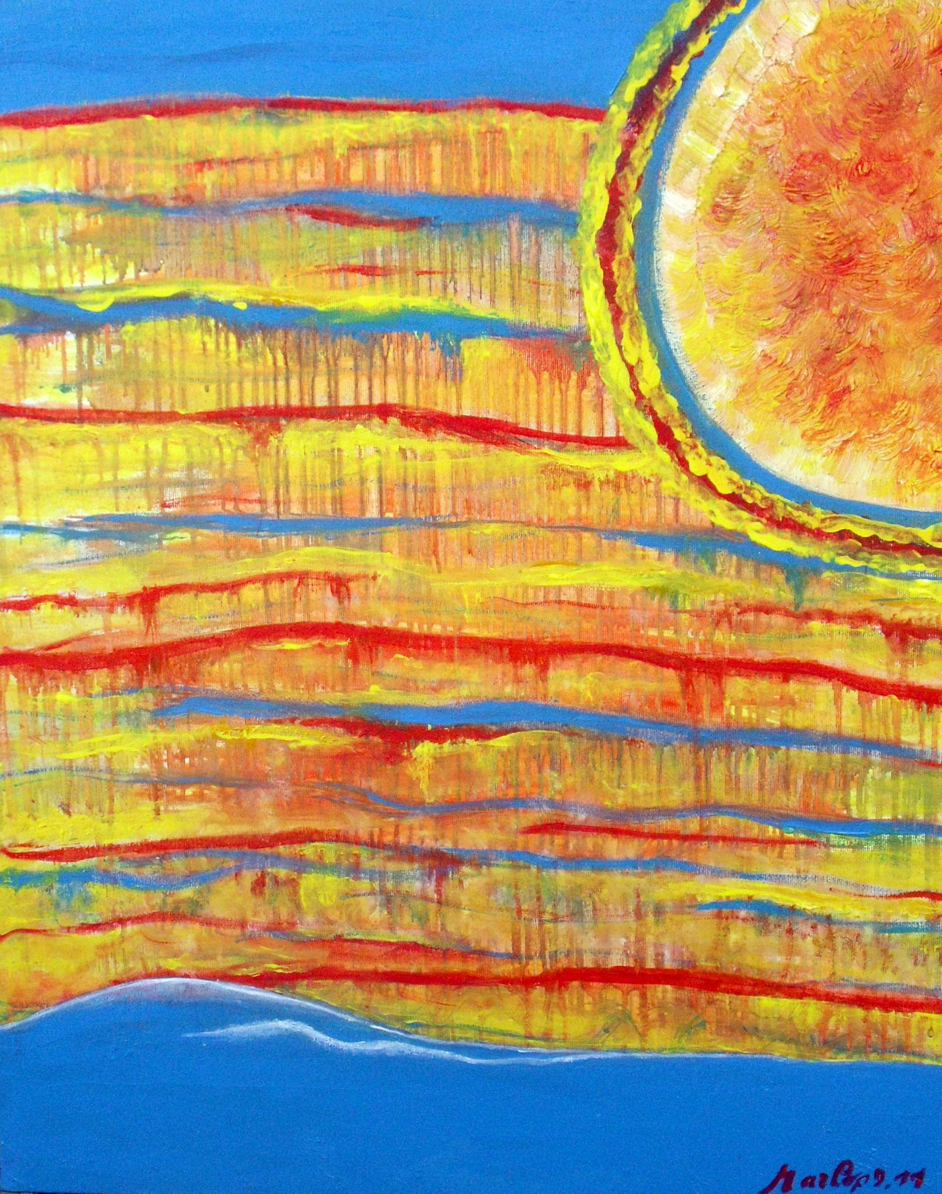 Planet Earth - Summertime. Planète terre - L\'été, huile/acrylque  70/60cm