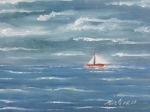Petit bateau sur l\'eau 40/30cm Vendu Frs 800,--
