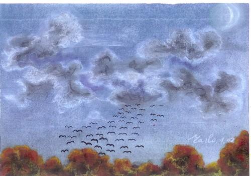 Ciel d\'automne, pastel