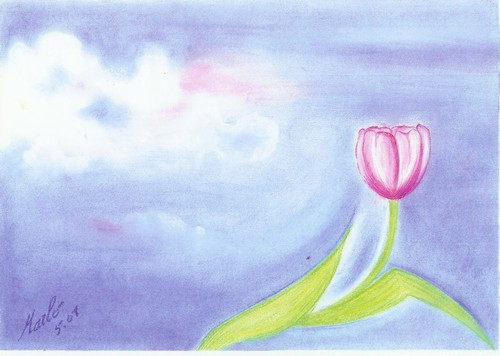 Ciel de printemps, pastel