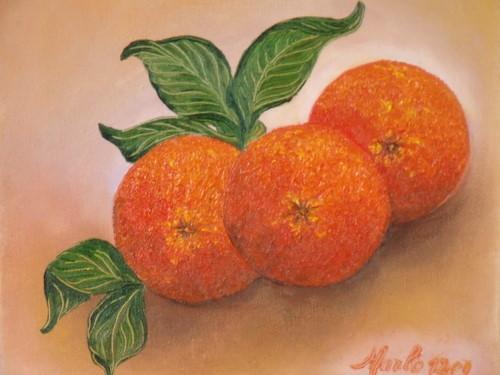 Trois oranges, huile sur toile 30/30 cm