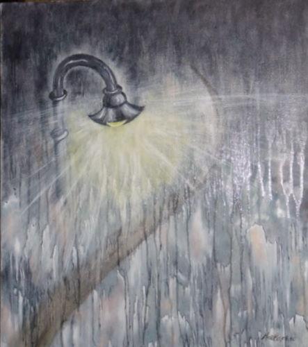Soirée de pluie 70/60 cm détail Vendu