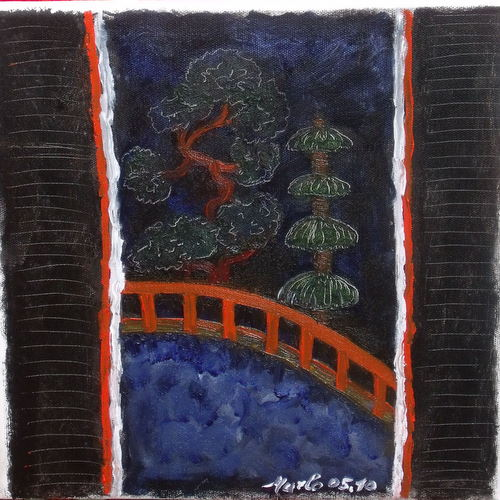 Triptyque japonais. La traversee du pont rouge.Crossing the red bridge 30/30cm VENDU