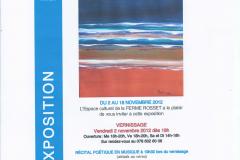Exposition et Récital Ferme Rosset, Thônex-Genève, 02-15.11.2012