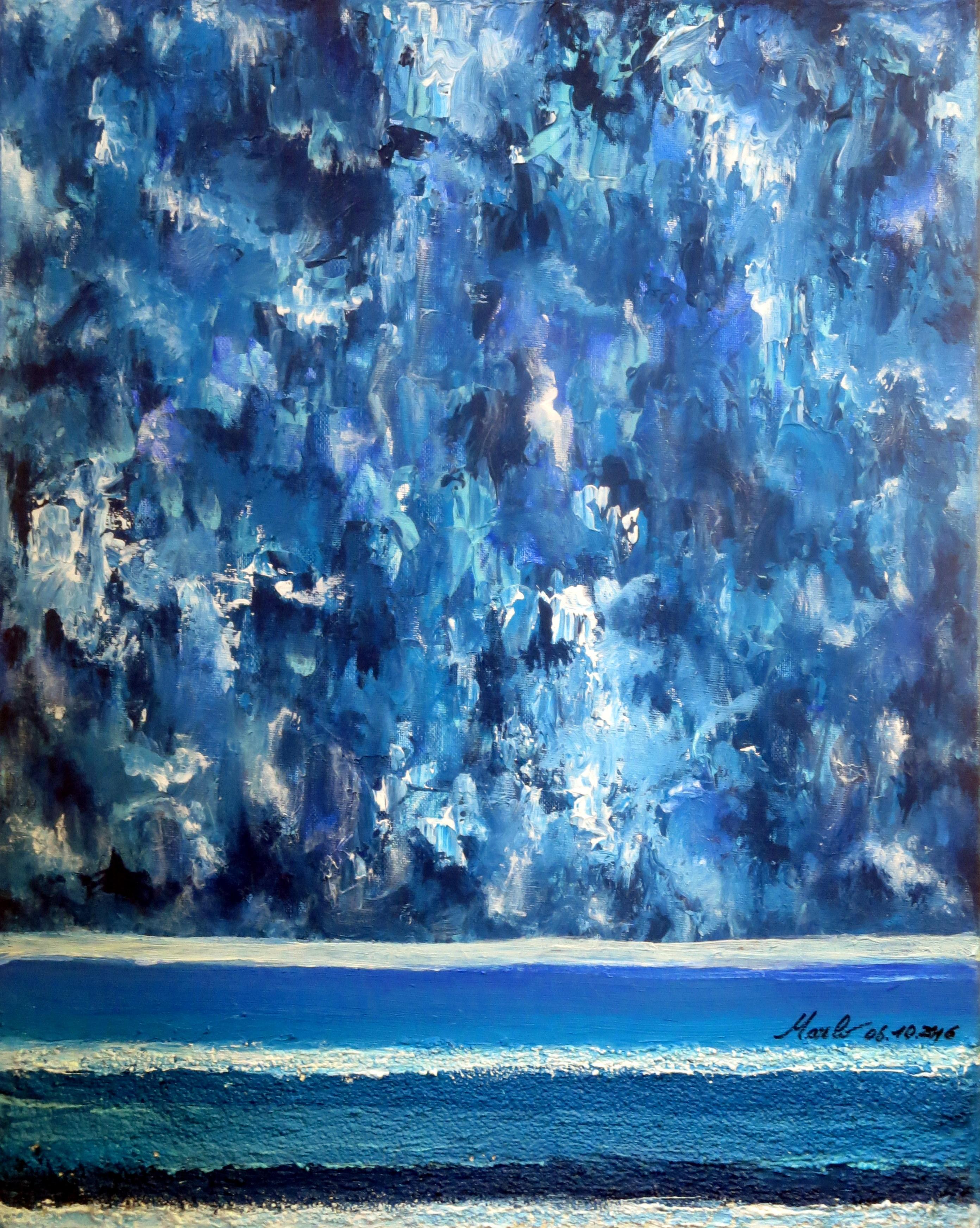 Blue harmony, acrylic, 40Wcm-50Hcm, 2 cm. 06.10.2016