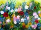 Scenery :Summer garden. Acrylic 80 x 60 cm. 22.01.2017