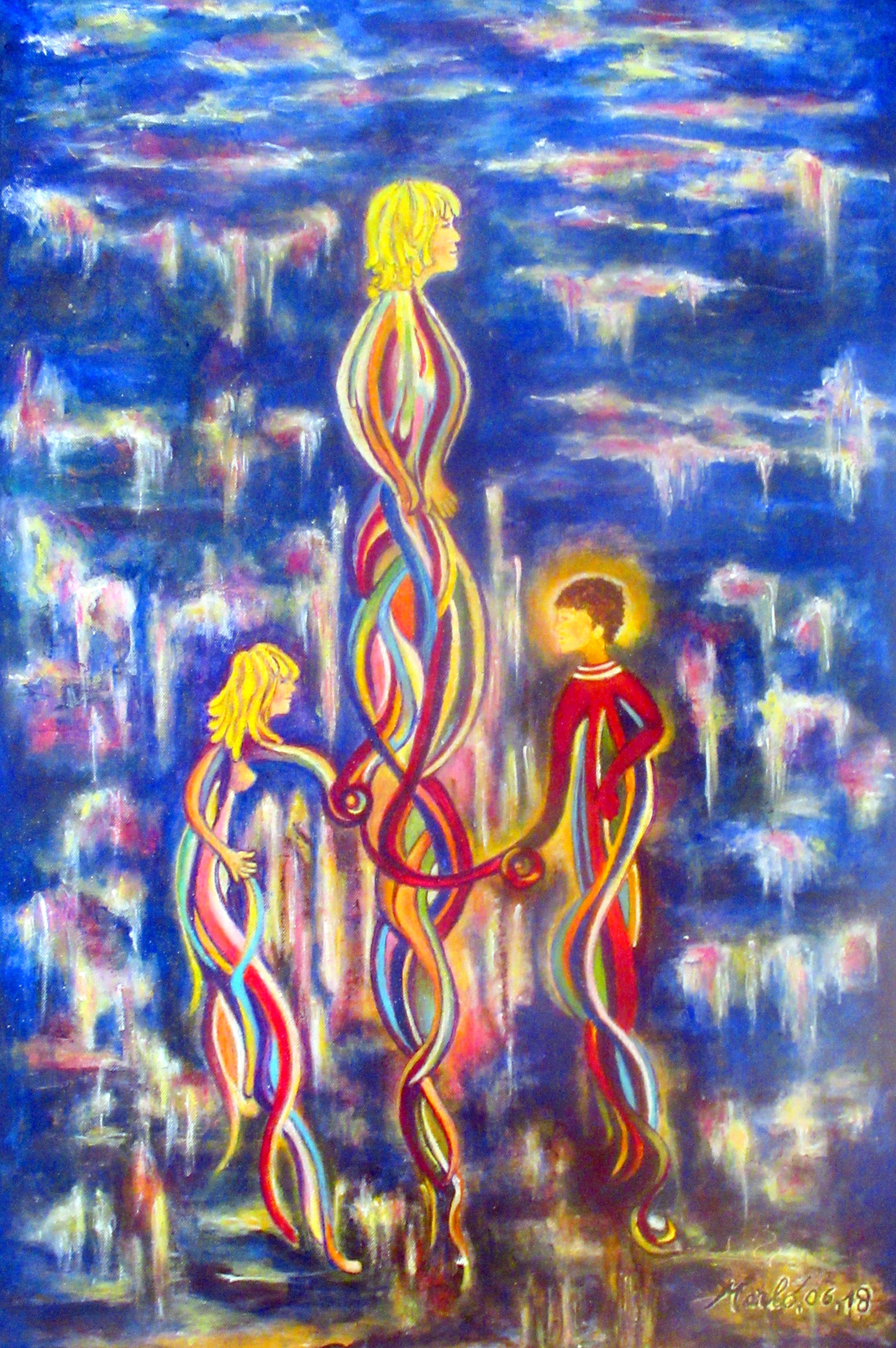 La maman. Arylic on canvas. 90 cm H x 60 cm W. 2018