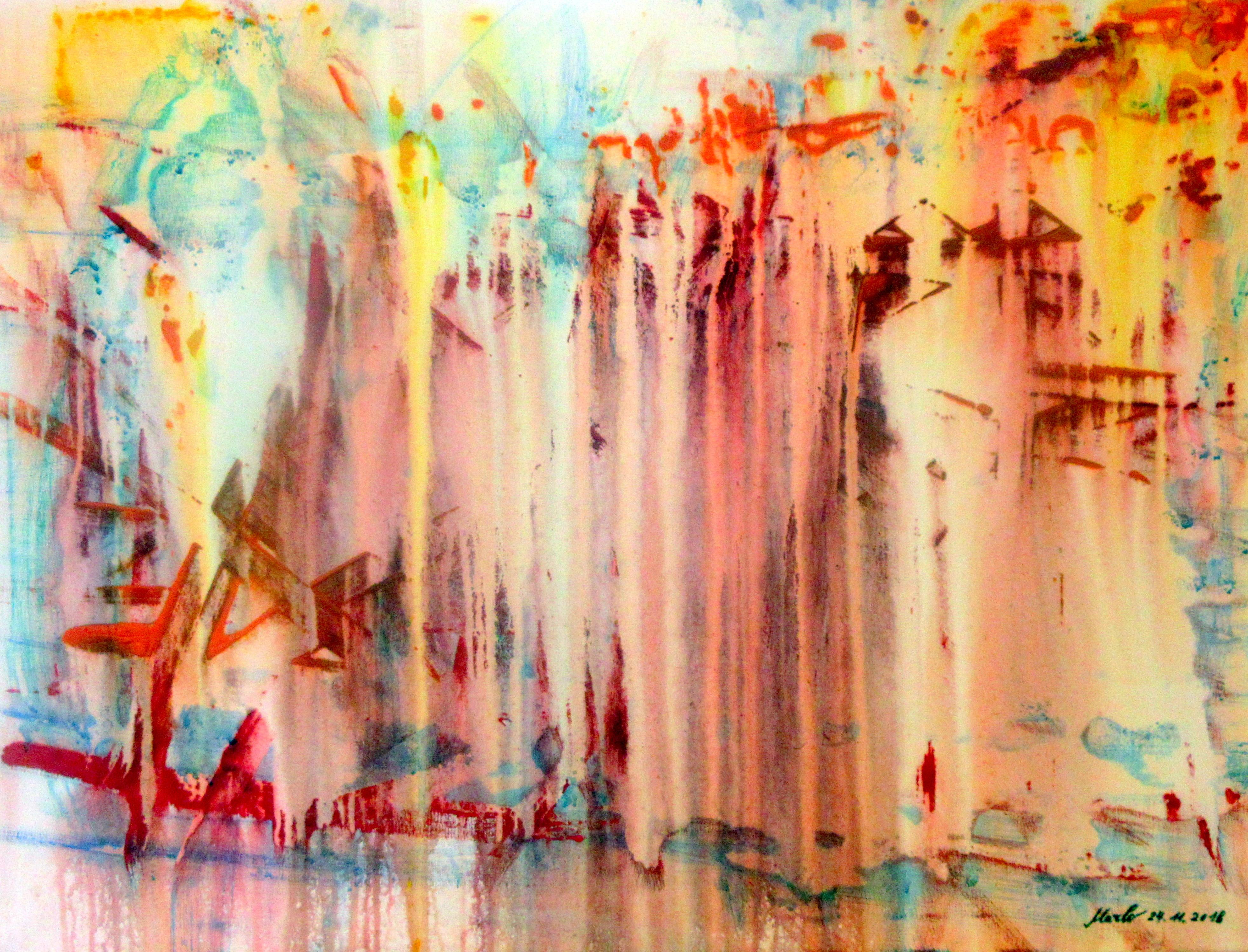 The lost city. Acrylic on canvas, 80 xm H x 60 cm W. 28.11.2018