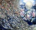 Lux fuerit, Acrylic on canvas. 120cm W x 100 cm H . 02.2019