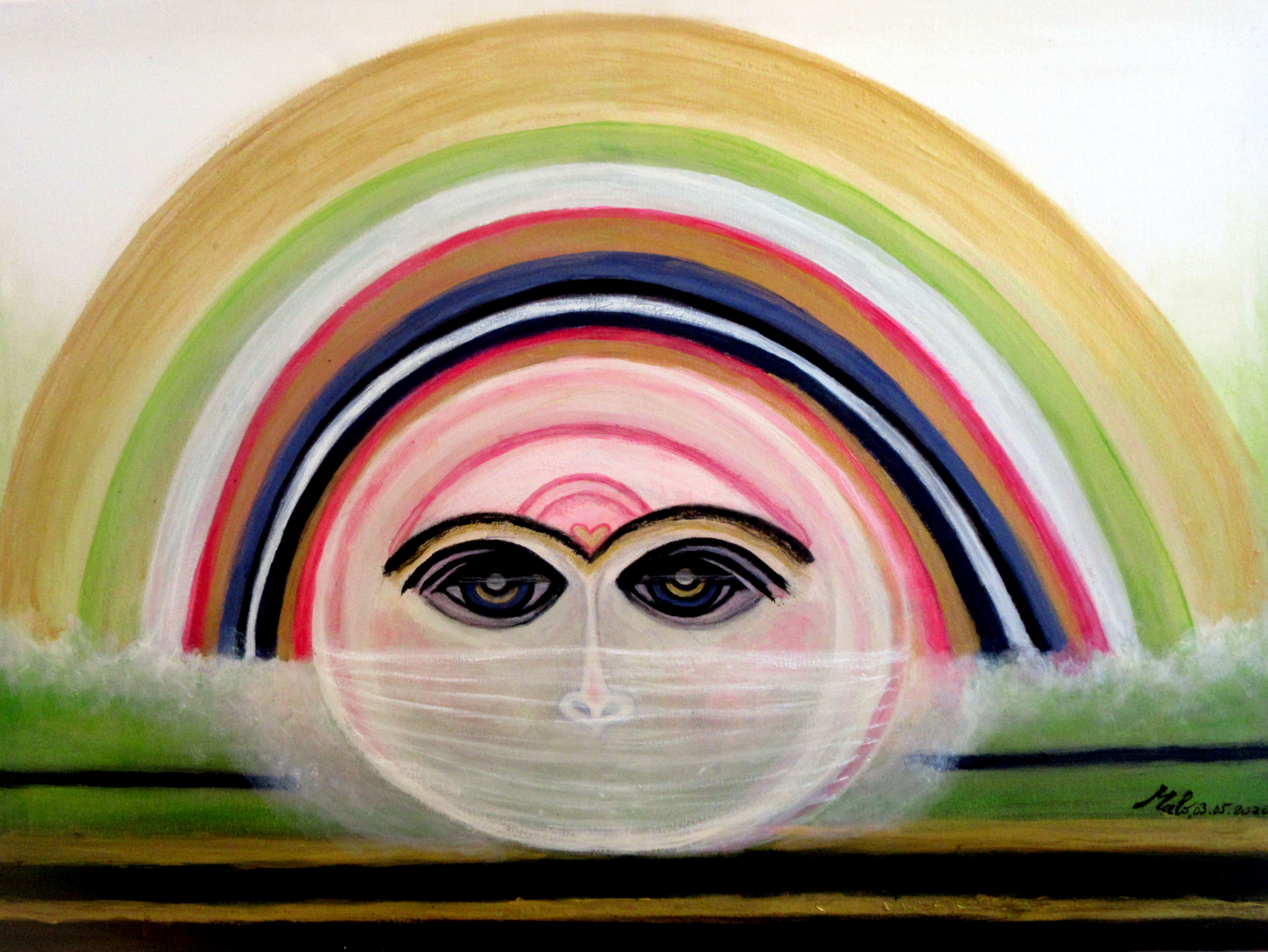 CORONAVIRUS... VEILED EYES SEE AGAIN. 03.05.2020.Acrylic on canvas. 60 cm W x 80 cm H x 2.5.cm D