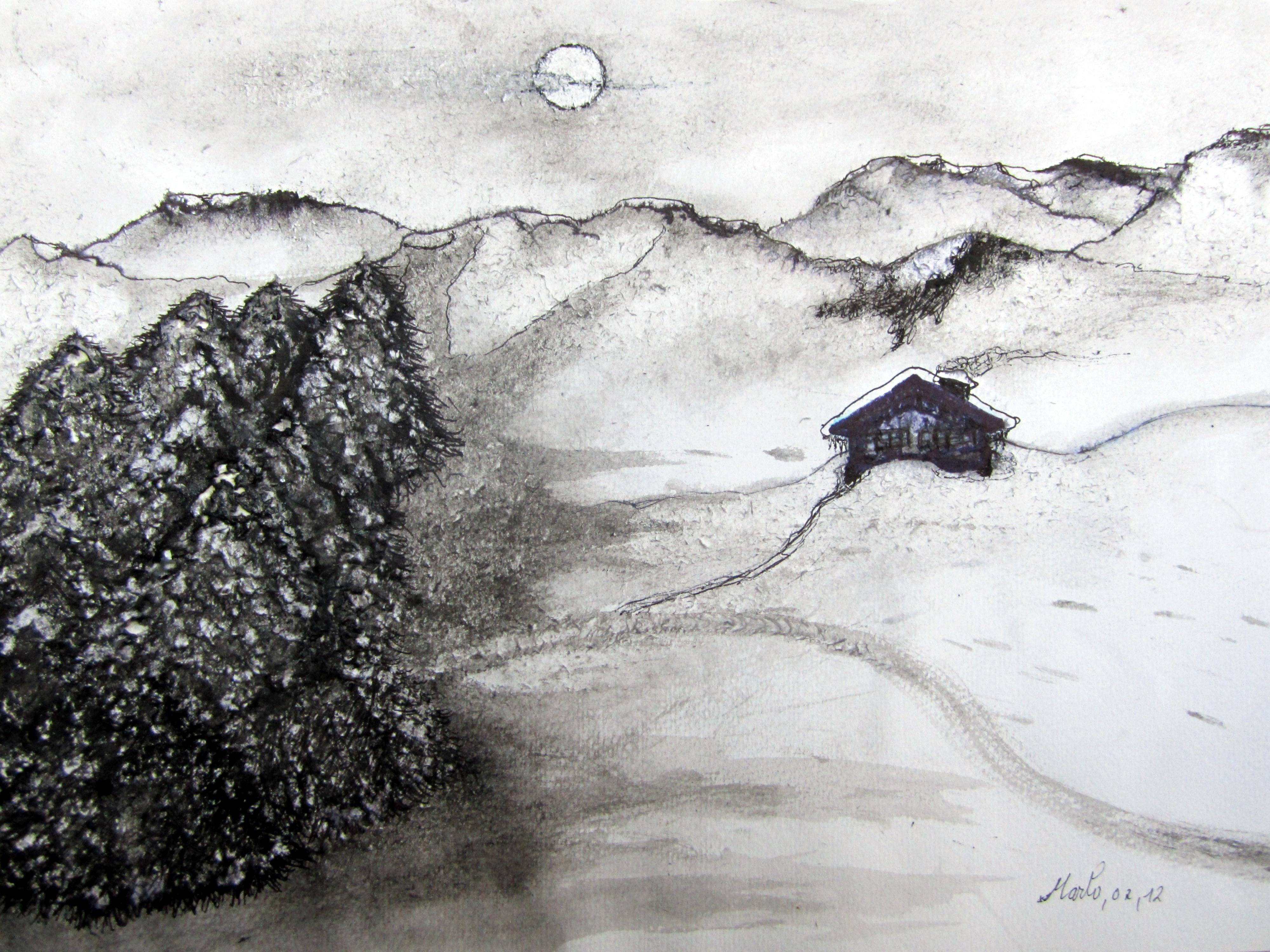 Nocturne hivernale 40/30 cm