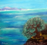 L'arbre solitaire et la mer 60/60cm