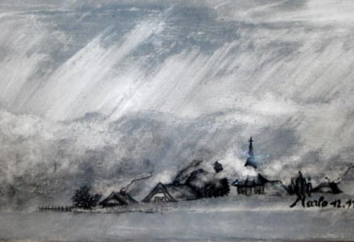 Village sous la neige 50/40 cm encre de Chine