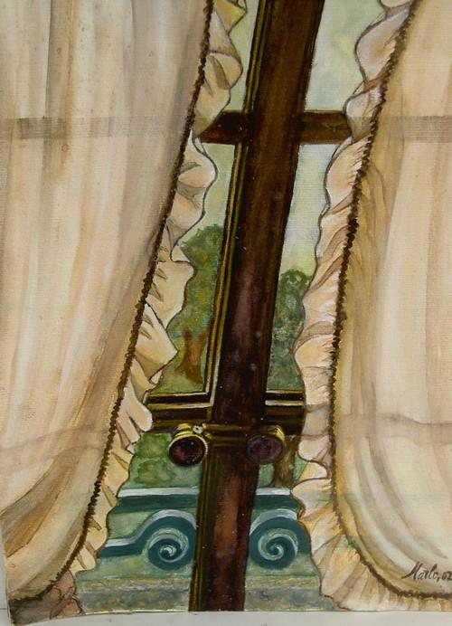 La fenêtre avec vue sur le jardin 30/40 cm aquarelle et gouache Vendu