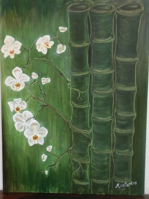 Rêves exotique - bamboo et orchidees 74/54cm