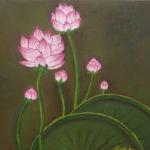 En allant à La mare aux lotus 30/30 cm Vendu Frs- 600.--Triptyque japonisant
