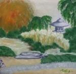Vers le petit temple 30/30 cm Triptyque japonisant VENDU