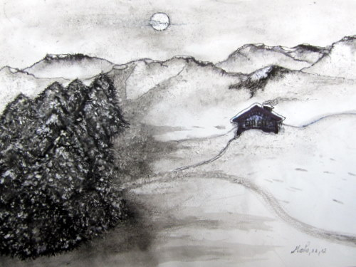 Nocturne hivernale 50/40 cm