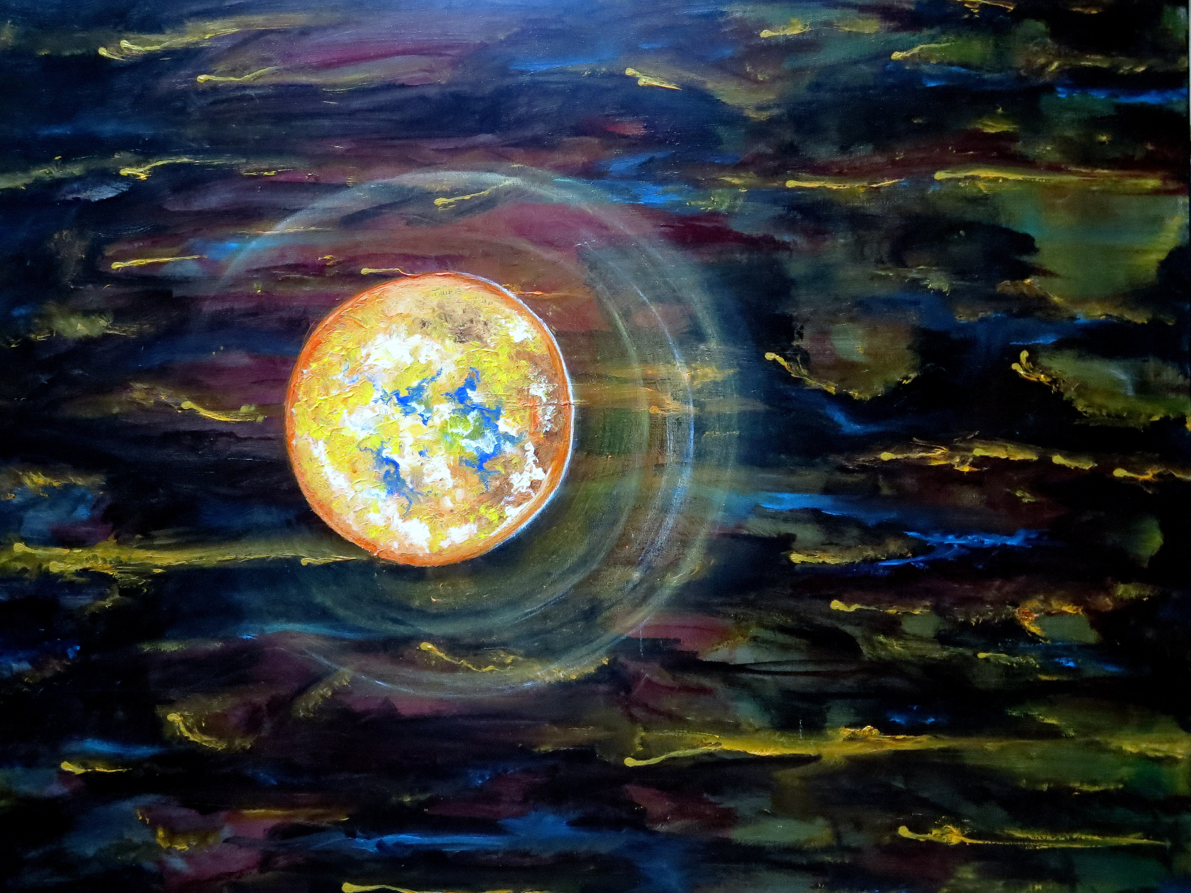 Exoplanete X, Huile et  Acrylique 1m-1m. 01-2014, detail