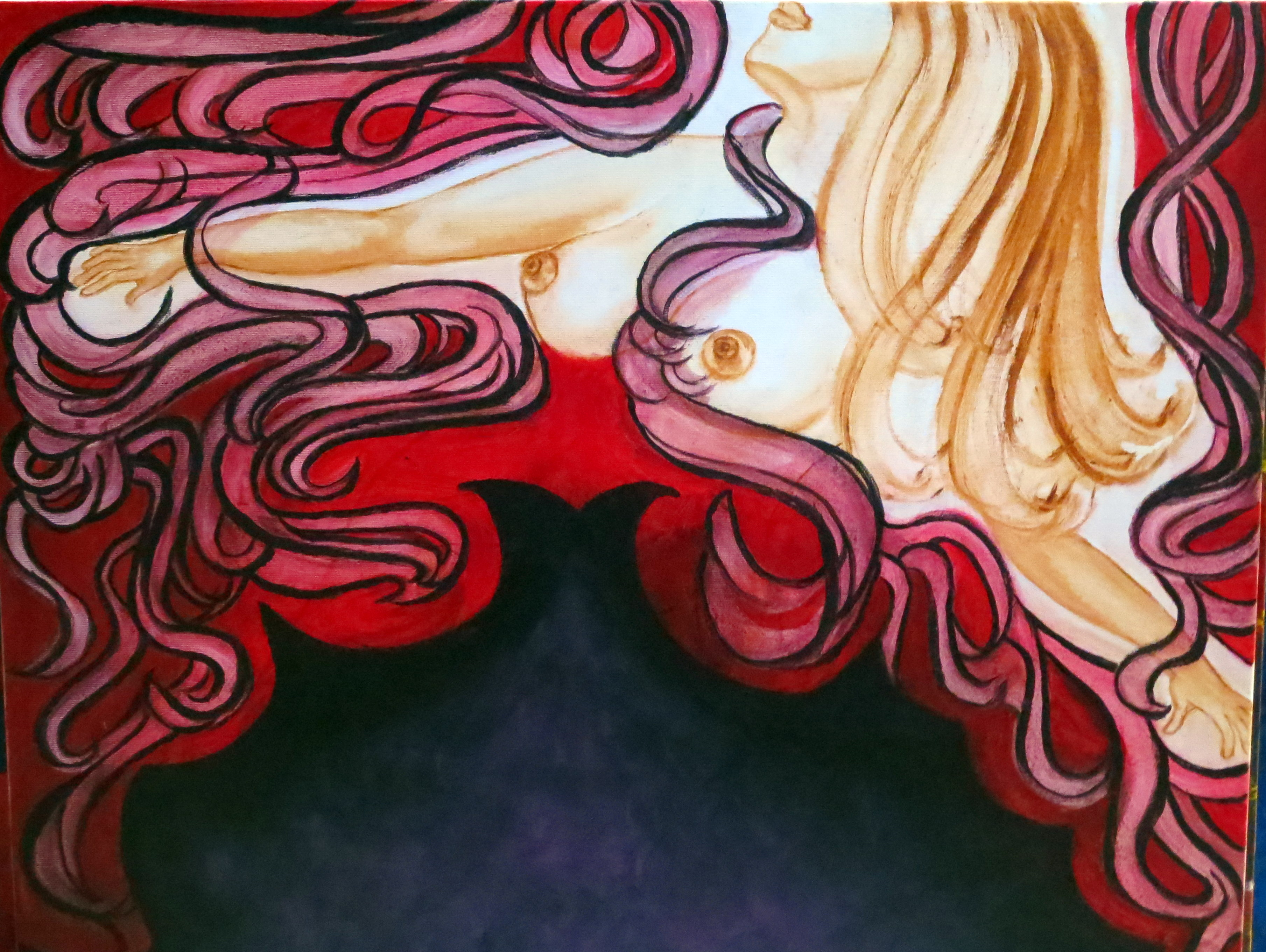 Femme, puits de mysteres, 60-50cm; 01-2014 huile et acrylique