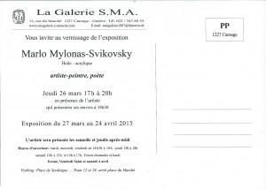 Carton d'invitation, dos. Expositions SMA 26.2015